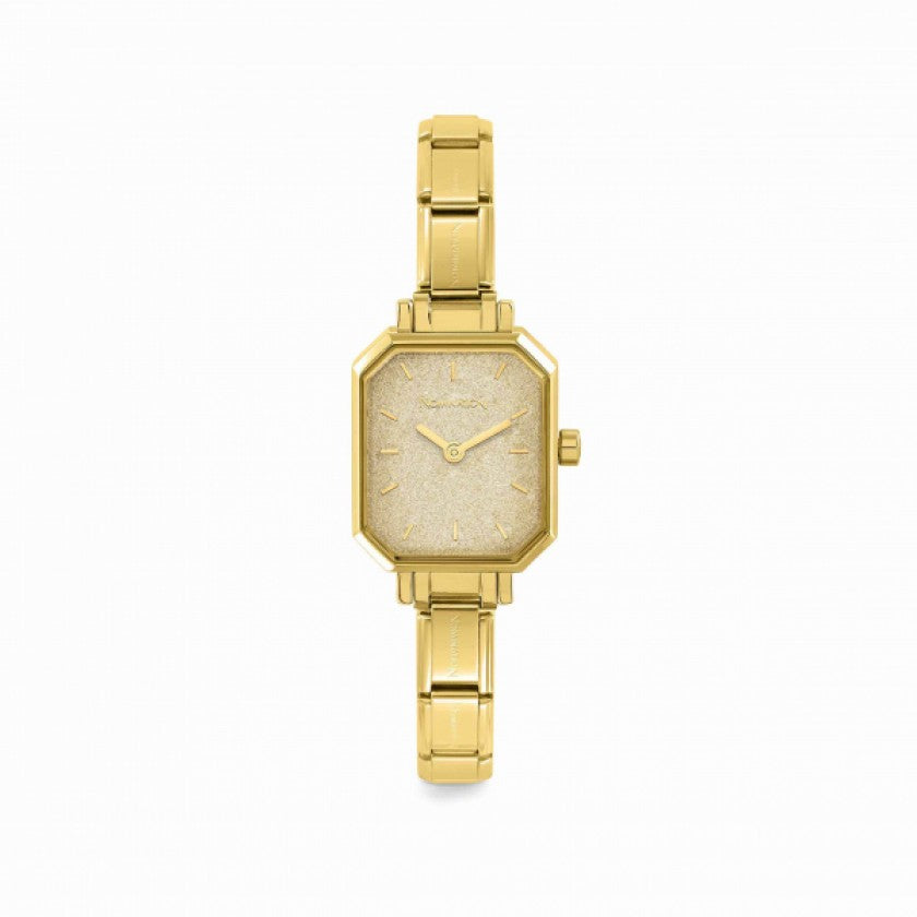 Paris Yellow Gold Nomination Classic Composable Rectangular Watch With Glittery Dial - S&S Argento