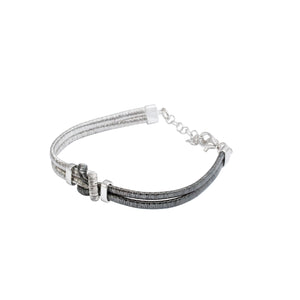 Italian Sterling Silver Two-Tone Bracelet with Central Knot