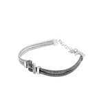 Italian Sterling Silver Two-Tone Bracelet with Central Knot - S&S Argento