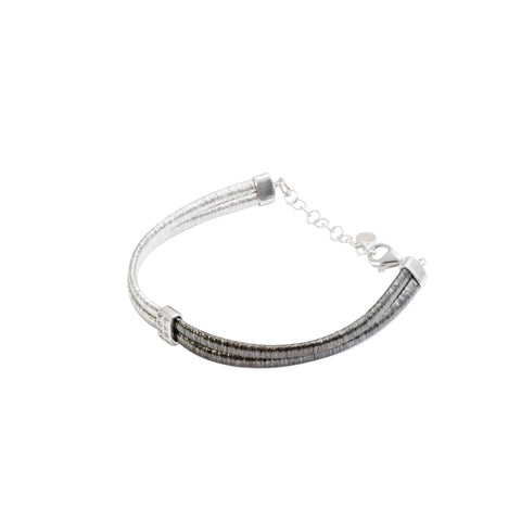 Italian Sterling Silver Two-Tone Bracelet with Cubic Zirconia