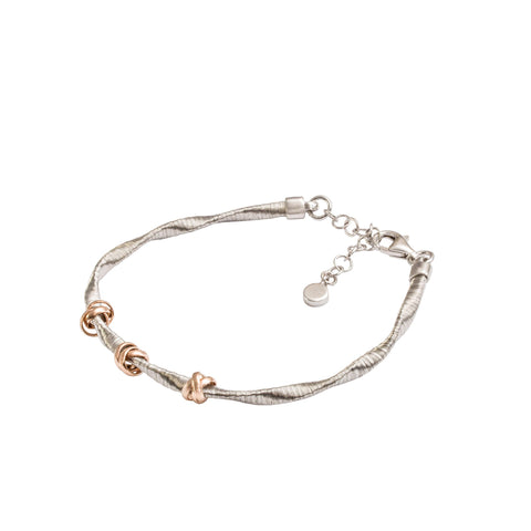 Italian Sterling Silver Silk Bracelet with Rose Gold Knots