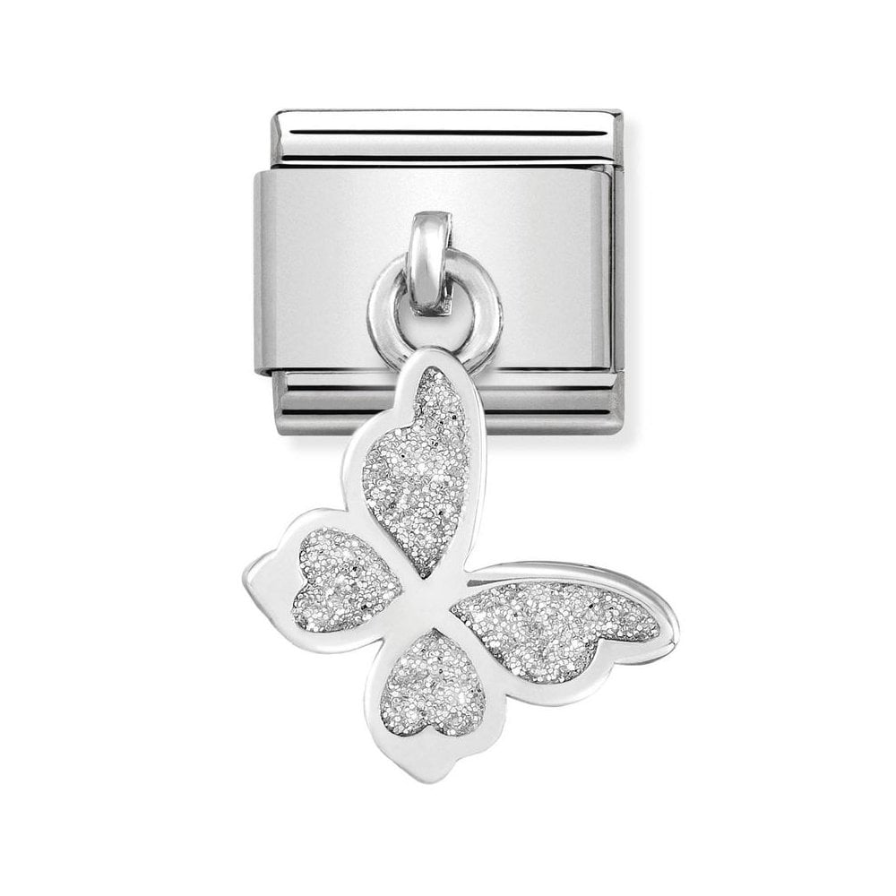 Nomination Classic Silver Glitter Butterfly Drop Charm - S&S Argento