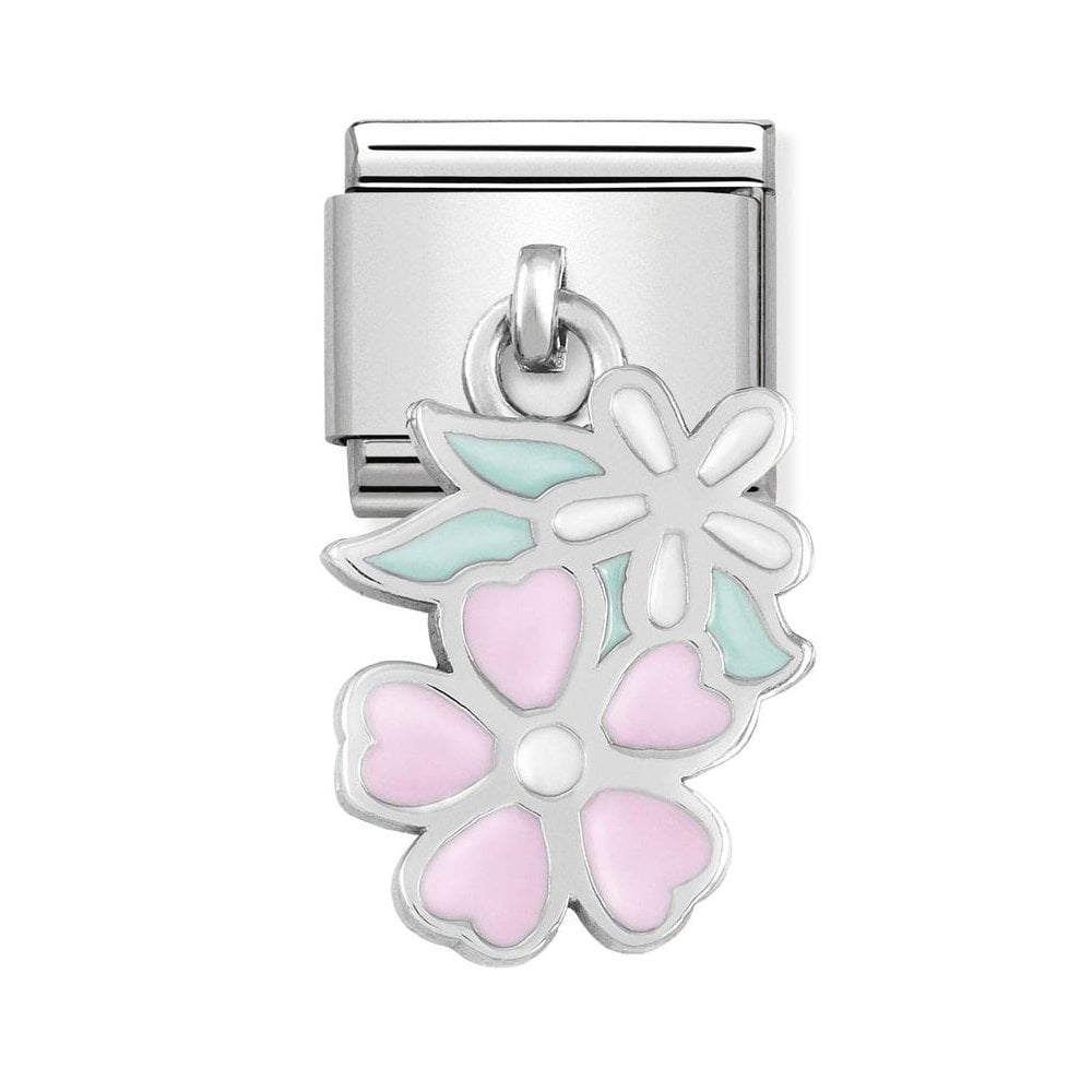 Nomination Classic Silver & Pink Double Flower Drop Charm - S&S Argento