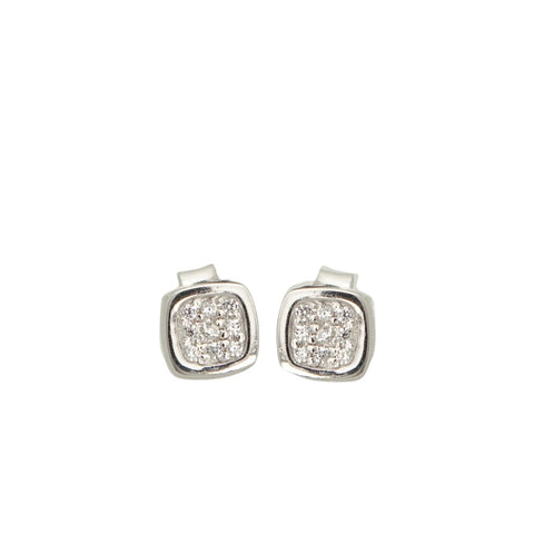 Small Sterling Silver Cubic Zirconia Stud Earrings