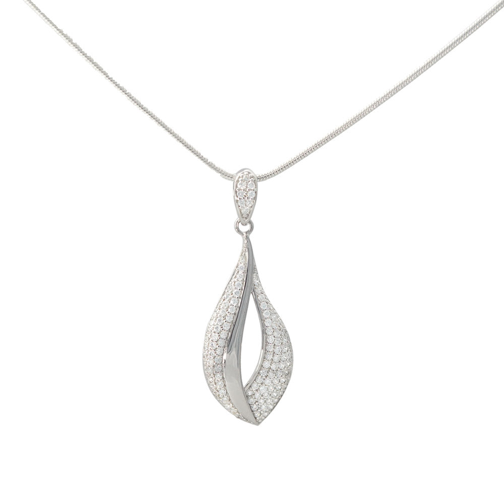 Sterling Silver Cubic Zirconia Pendant and Chain Necklace - S&S Argento