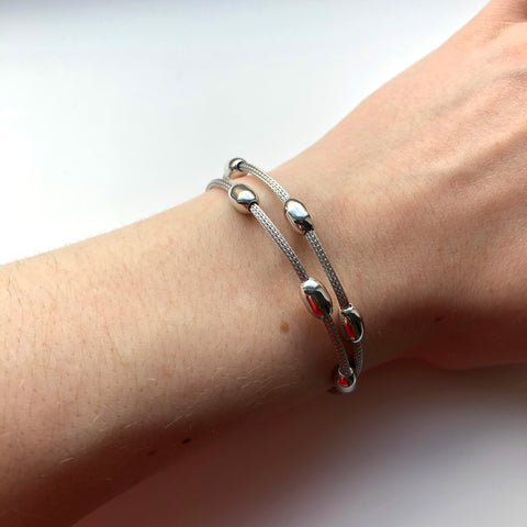 Sterling Silver Double Bead Chain Bracelet - ICB6