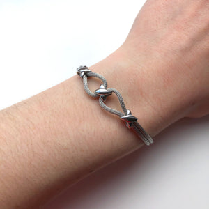 Sterling Silver Cross Bead Bracelet - ICB7