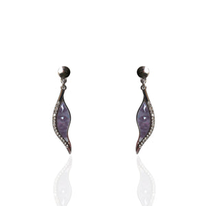 Silver Cubic Zirconia and Mother of Pearl Earrings - ICE3
