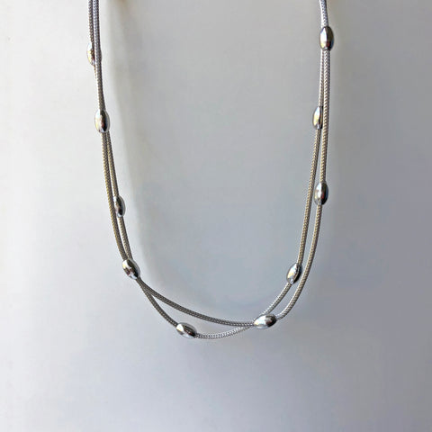 Sterling Silver Double Bead Chain Necklace - ICN2