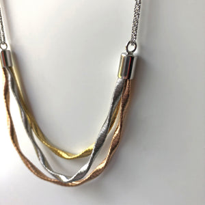 Sterling Silver Yellow and Rose Gold Triple Mixed Chain Necklace - ICN4