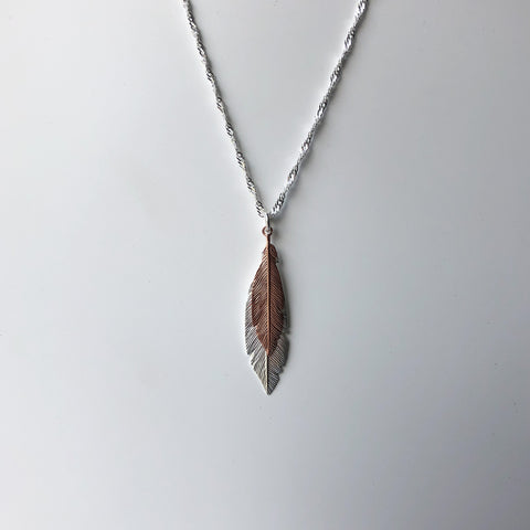 Silver and Rose Gold Double Feather Necklace - ICP1