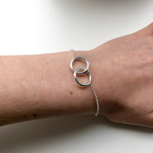 Sterling Silver Double Ring Bracelet - NCB3