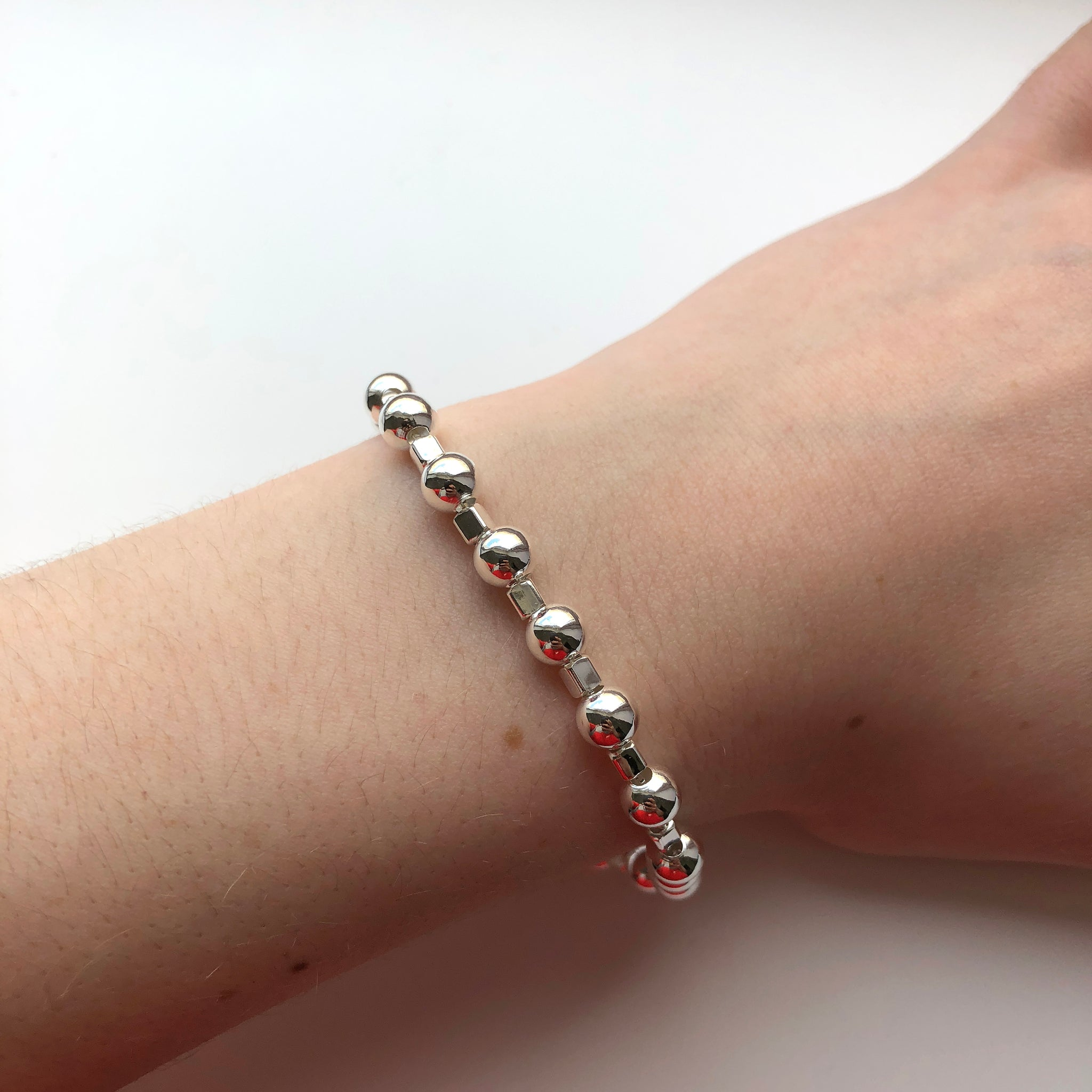 Sterling Silver Ball Linked Bracelet - NCB4