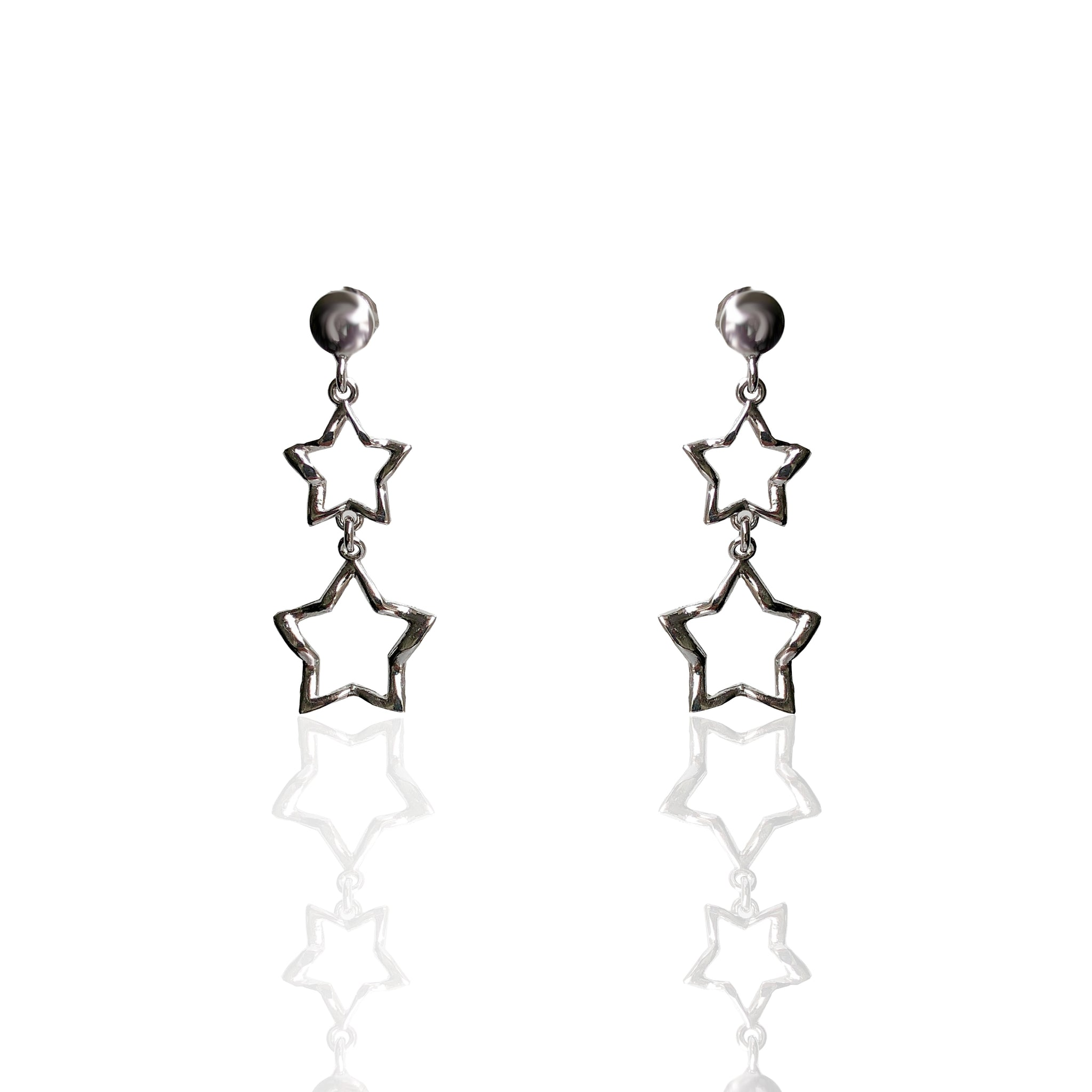 Sterling Silver Double Star Earringse