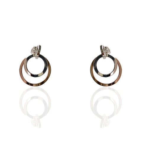 Sterling Silver Double Ring Earrings