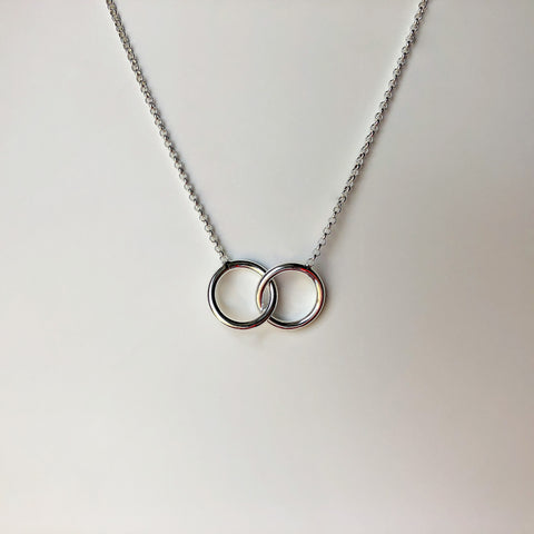 Sterling Silver Double Ring Necklace - NCP3