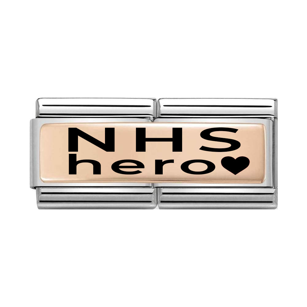 Nomination Classic Double Rose Gold NHS Hero Charm