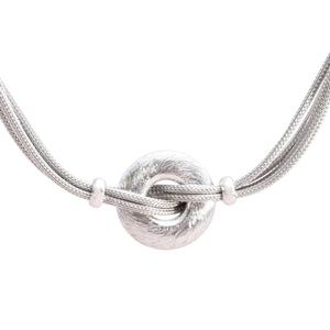Italian Sterling Silver Mesh Necklace with Central Solid Ring
