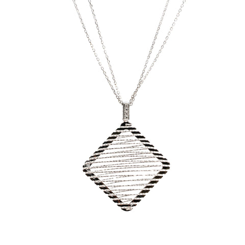 Italian Sterling Silver Diamond Cut Long Necklace (Rhombus Silver)