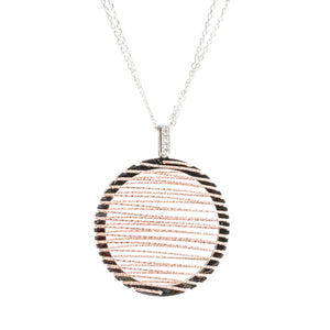 Italian Sterling Silver and Rose Gold Diamond Cut Long Necklace (Circle Two-Tone)