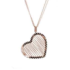 Italian Rose Gold Diamond Cut Long Necklace (Heart)