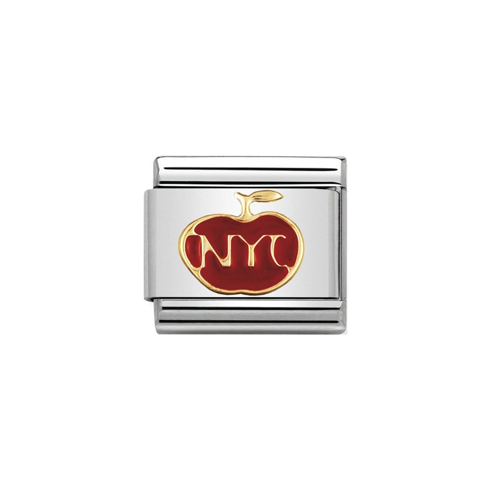 Nomination Classic Apple with New York NYC Charm - S&S Argento