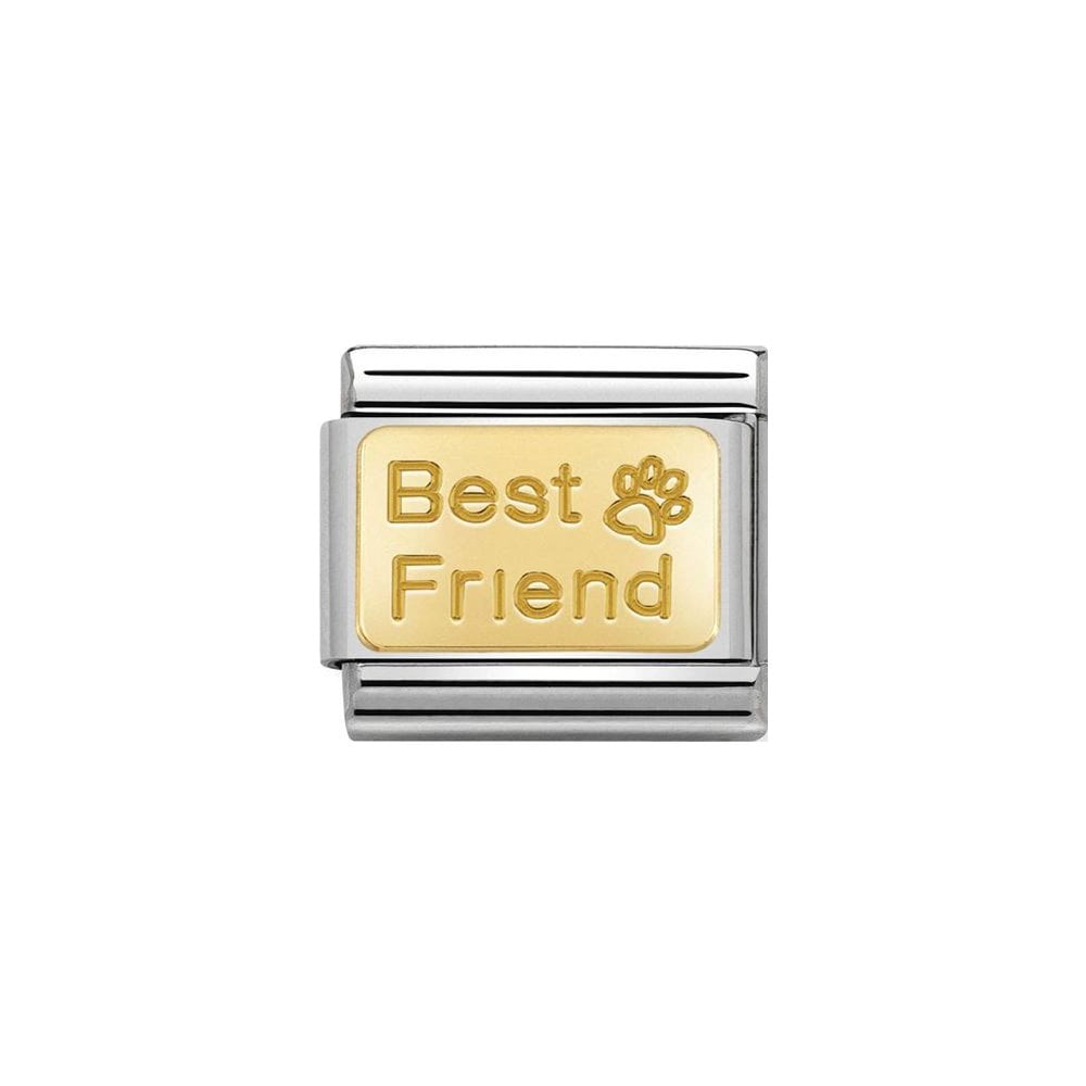 Nomination Classic Gold Best Friend with Paw Print Plate Charm - S&S Argento