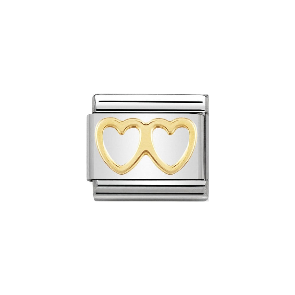 Nomination Classic Gold Double Heart Charm - S&S Argento