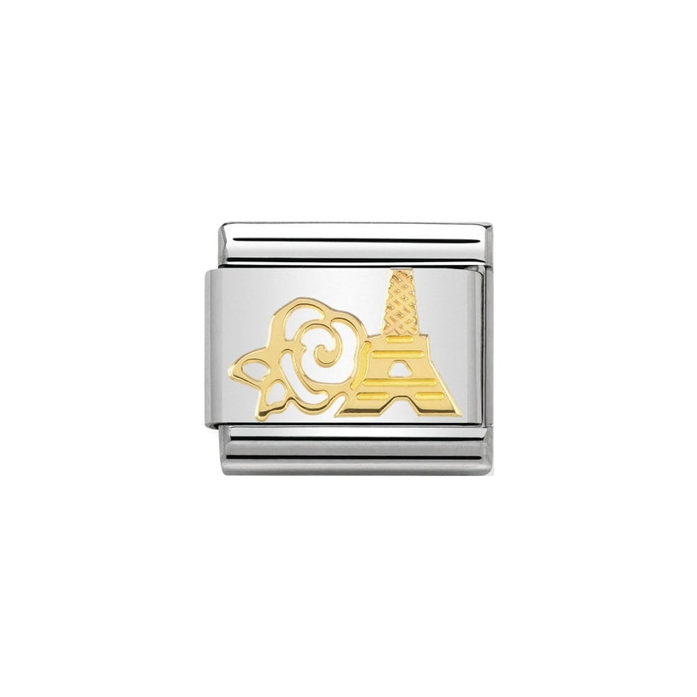 Nomination Classic Gold Eiffel Tower & Rose Charm - S&S Argento