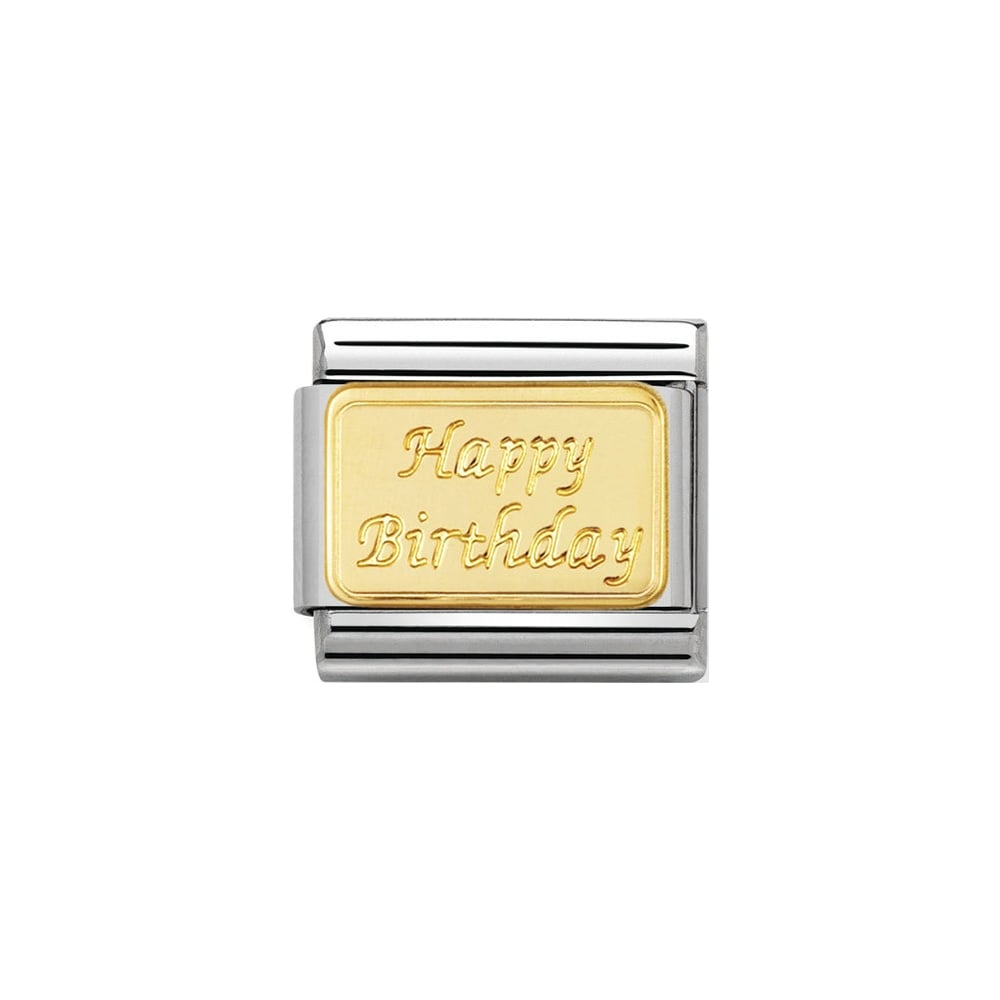 Nomination Classic Gold Happy Birthday Plate Charm - S&S Argento