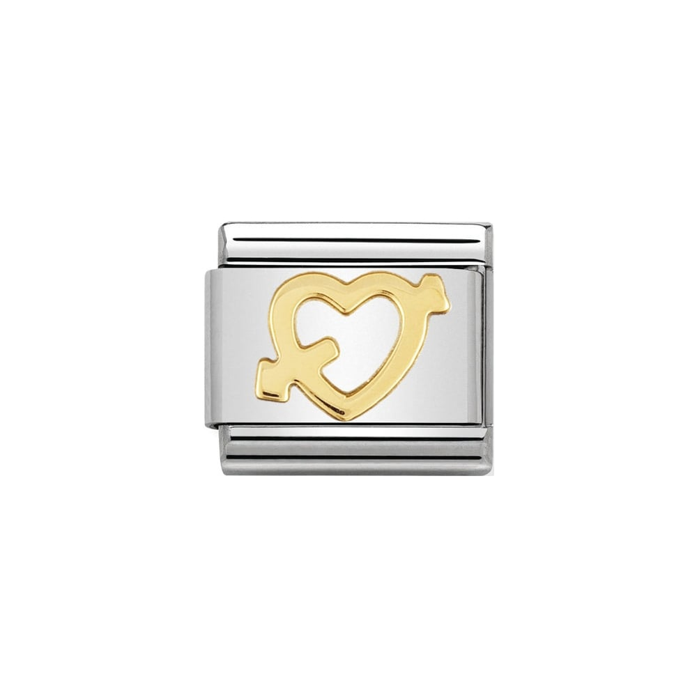 Nomination Classic Gold Heart With Arrow Charm - S&S Argento