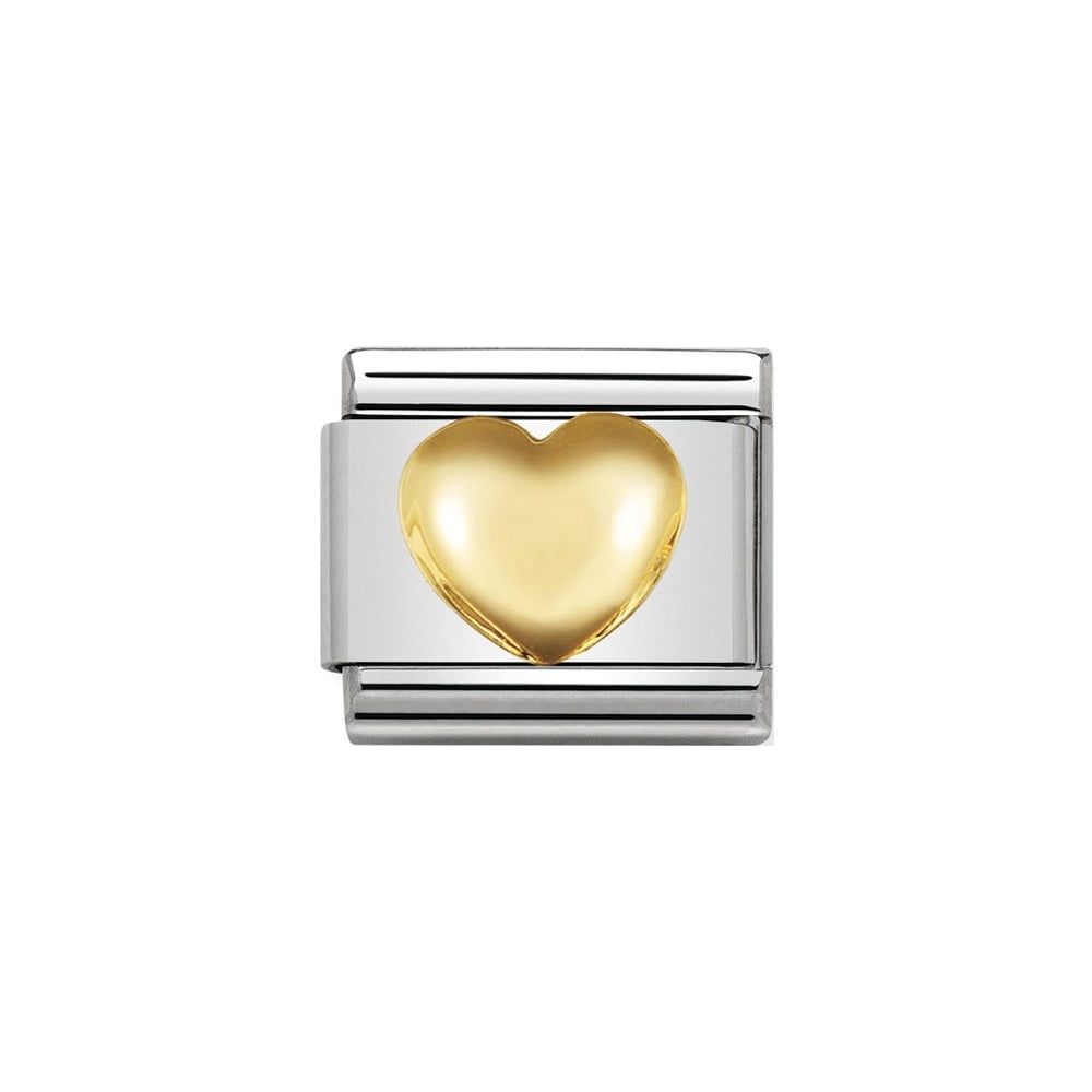Nomination Classic Gold Raised Heart Charm - S&S Argento