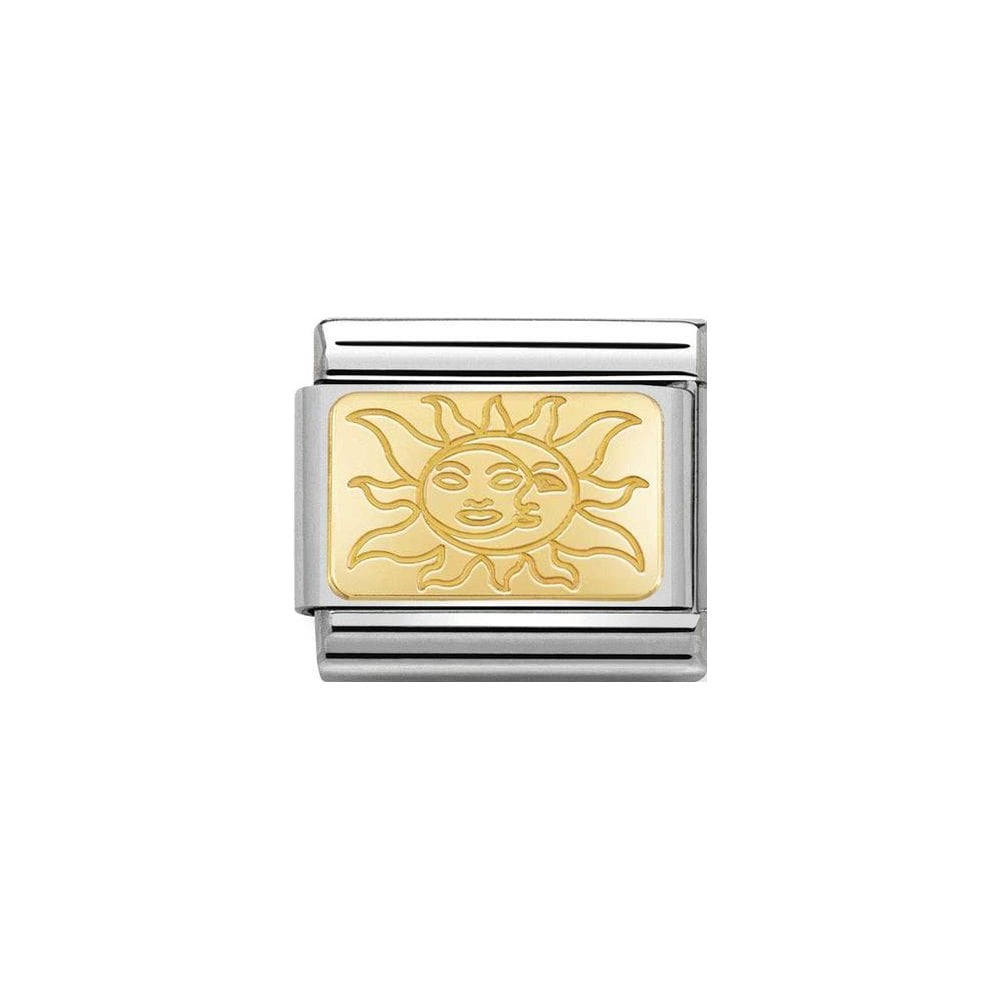 Nomination Classic Gold Sun with Faces Plate Charm - S&S Argento
