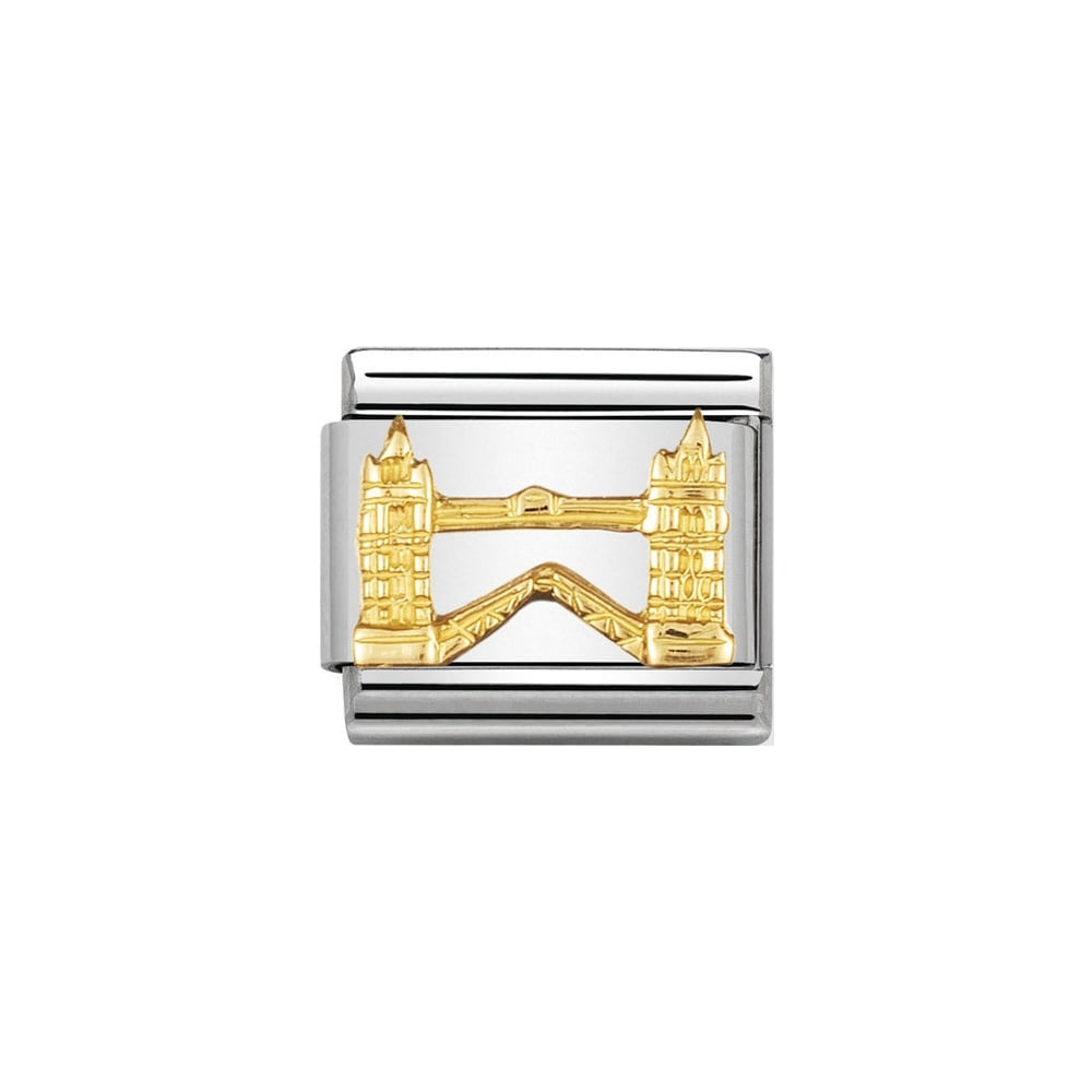Nomination Classic Gold Tower Bridge Charm - S&S Argento