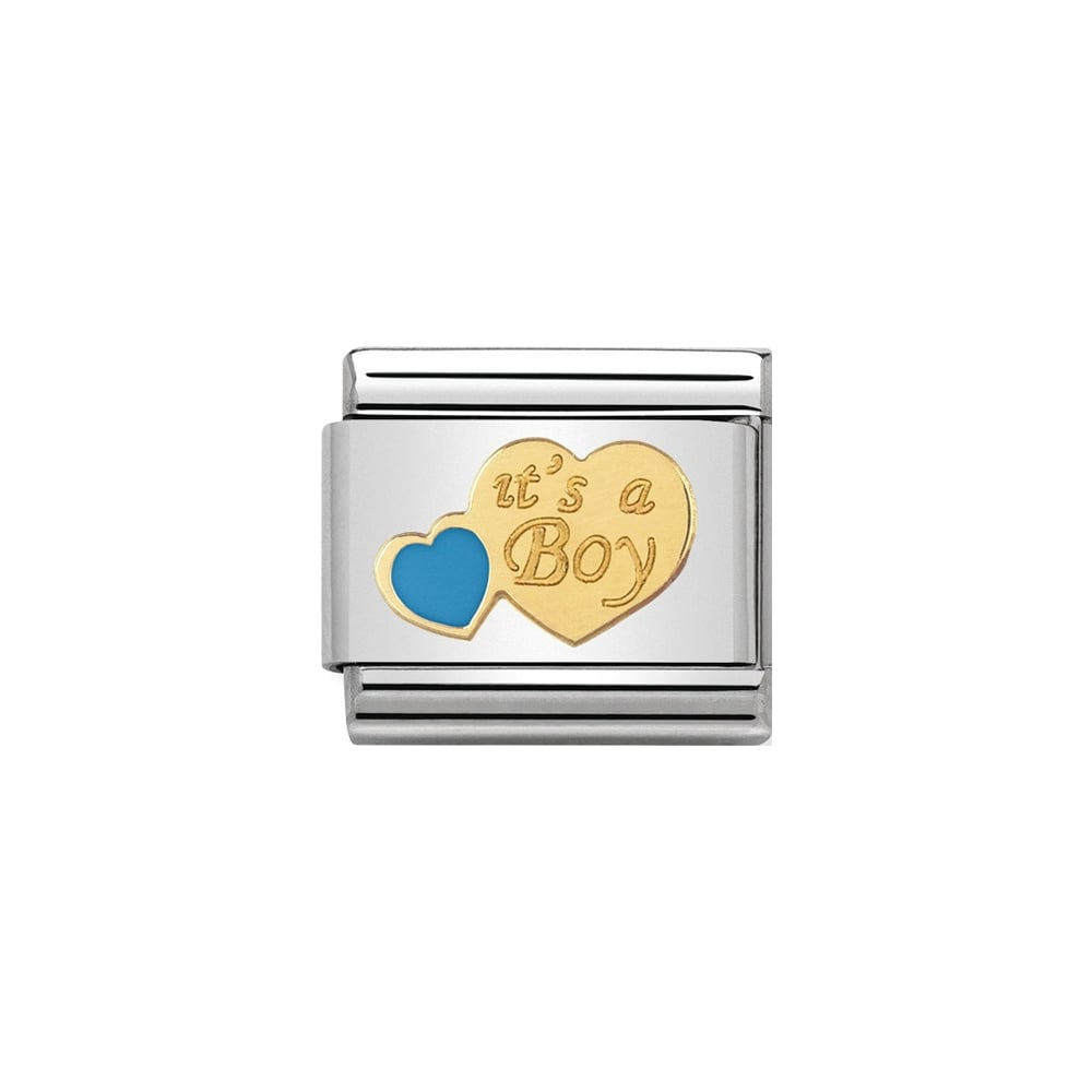Nomination Classic Gold & Blue It's A Boy Charm - S&S Argento