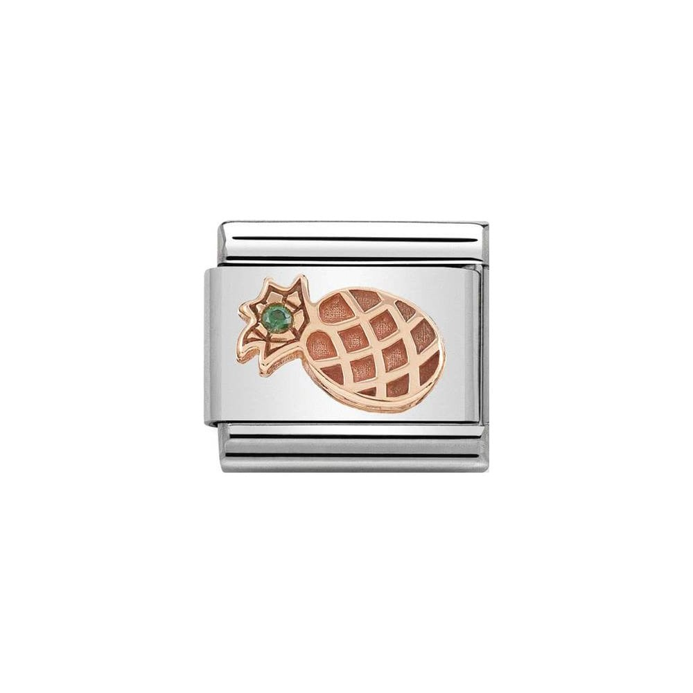 Nomination Classic Rose Gold & Green CZ Pineapple Charm - S&S Argento