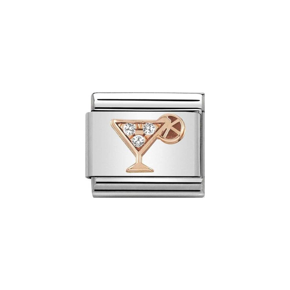 Nomination Classic Rose Gold & White CZ Cocktail Charm - S&S Argento