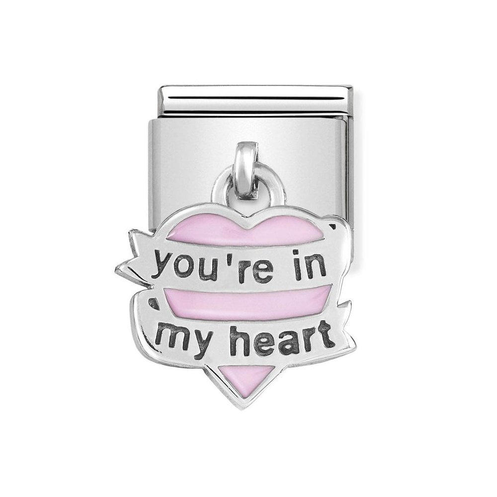 Nomination Classic Silver & Pink You're In My Heart Drop Charm - S&S Argento