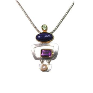 Paula Bolton Kaleidoscope Pendant and Chain Necklace with Lapis Amethyst Peridot and Pearl
