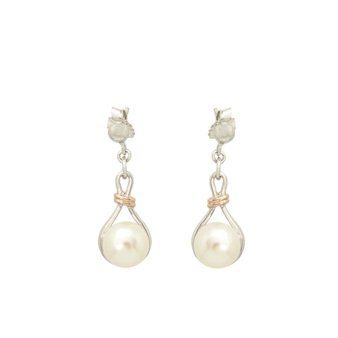 Sterling Silver and Rose Gold Pearl Earrings