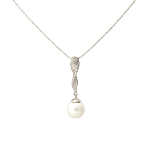 Sterling Silver Pearl Pendant with Chain Necklace