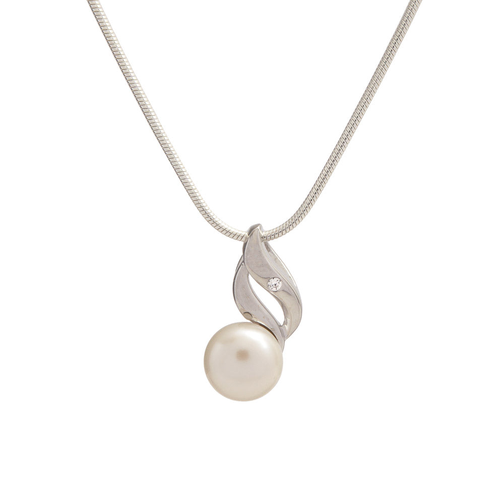 Sterling Silver Pearl and Cubic Zirconia Pendant with Chain Necklace - S&S Argento