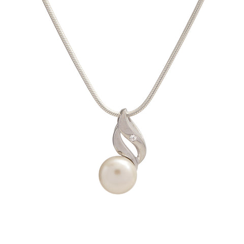 Sterling Silver Pearl and Cubic Zirconia Pendant with Chain Necklace