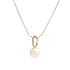 Sterling Silver and Rose Gold Pearl and Cubic Zirconia Pendant with Chain Necklace