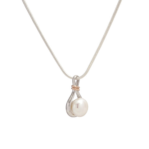 Sterling Silver and Rose Gold Pearl Pendant with Chain Necklace