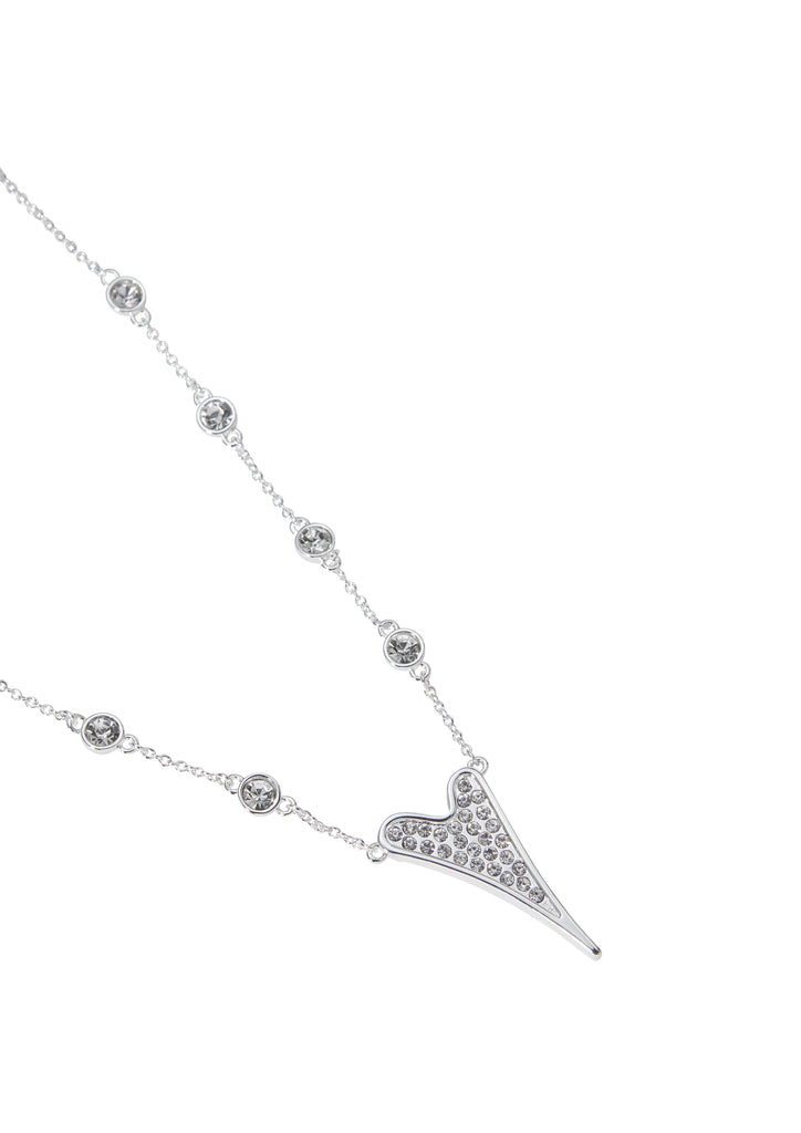 Miss Dee Silver Sparkle Heart With Sparkle Chain Necklace 1800635