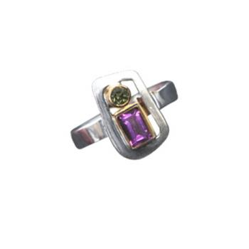 Paula Bolton Sterling Silver Kaleidoscope Ring with Amethyst Peridot and Pearl
