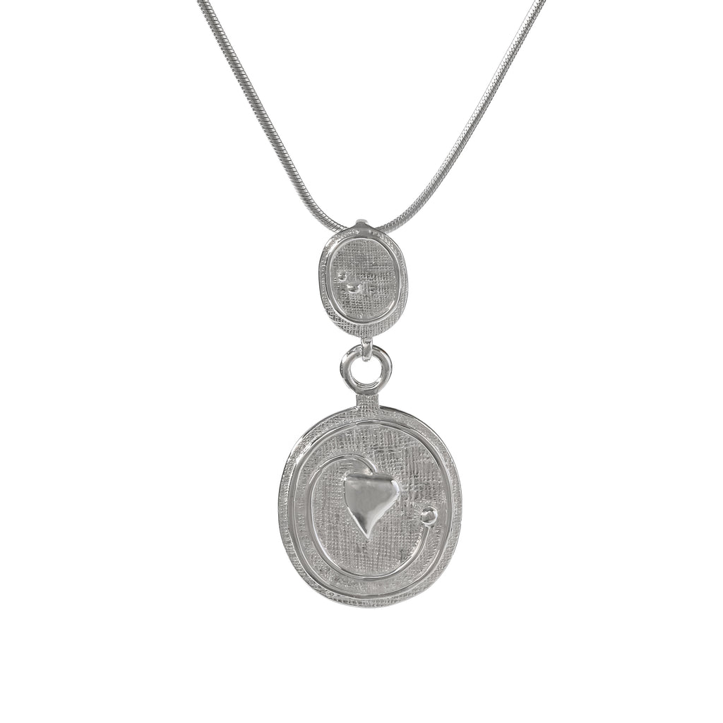 Sterling Silver Mackintosh Style Double Round Pendant
