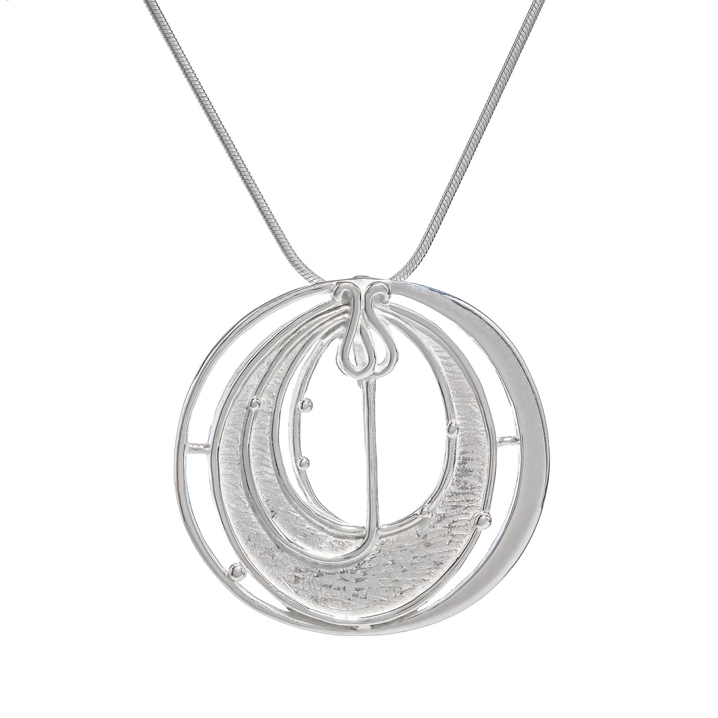 Sterling Silver Mackintosh Style Round Pendant