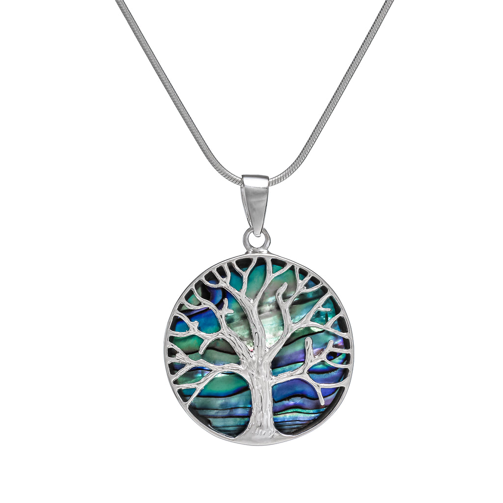 Sterling Silver and Abalone Shell Round Tree of Life Pendant